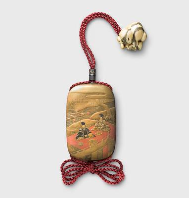 Dies ist ein Inrō in koban-Form (Goldmünzenform). Japan, 19. Jahrhundert