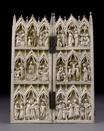 Diptychon mit Szenen aus der Passion Christi. Elfenbein. Paris, um 1250