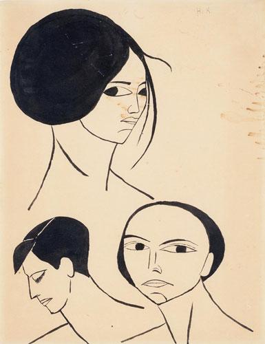Abbildung von HannaKoschinsky.Drei Frauenköpfe.1916–1918