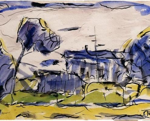 Abbildung von Christian Rohlfs. Blaues Haus. 1922