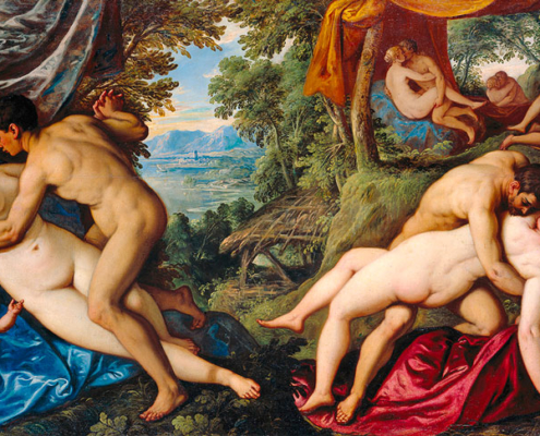"""Abbildung von Pauwels Franck, gen. Paolo Fiammingo, aus der Serie """"Amori :Il frutto dell'amore"""". 1585/89"""
