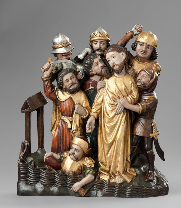 Abbildung von Relief aus dem ehemaligen Hochaltar derDionysiuskirche – Gefangennahme Christi