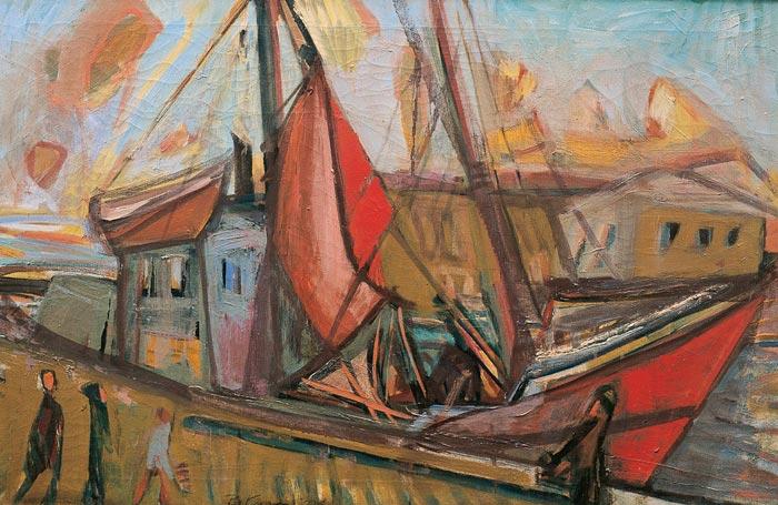 Abbildung von Bruno Krauskopf. Segelboot im Hafen. 1930er Jahre