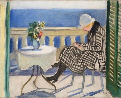 Abbildung von Charles Camoin. Lola auf der Terrasse des Hotel Bellevue in Toulon. 1920