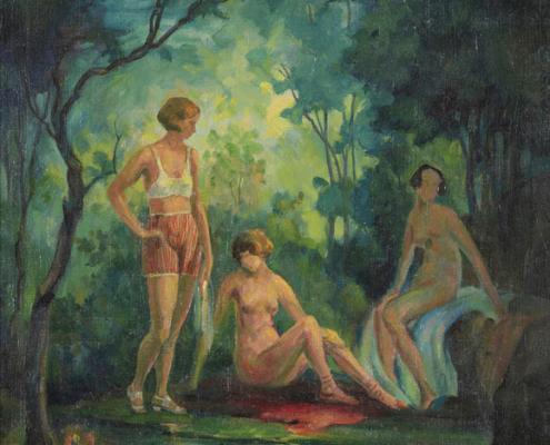 Abbildung von Herbert Rolf Schlegel.Badende am Waldsee. um 1926