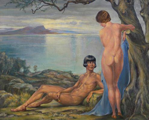Abbildung von Herbert Rolf Schlegel. Zwei Akte am See. um 1930