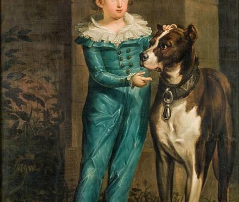 Abbildung von Johann Christoph Rincklake. Johann Ignatz Freiherr von Landsberg-Velen mit Hund. 1792