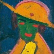 Abbildung von Hermann Stenner. Grüne Frau mit gelbem Hut I. 1913