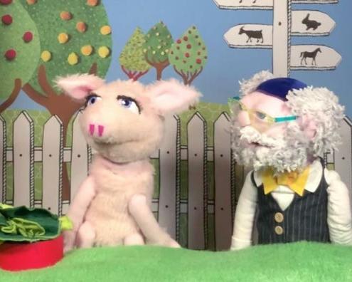 Abbildung von Schweinchen Babett und Rabbi von Bubales.Foto: Bubales