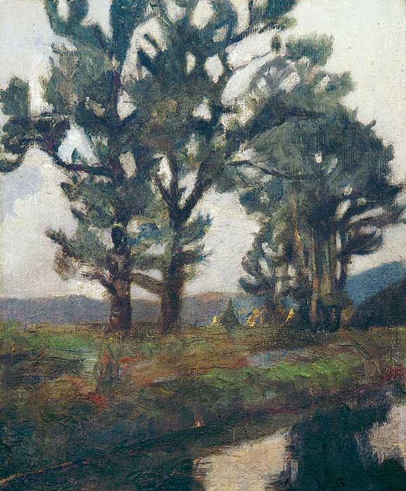 Abbildung von Hermann Stenner.Landschaft mit Bäumen. ca. 1910